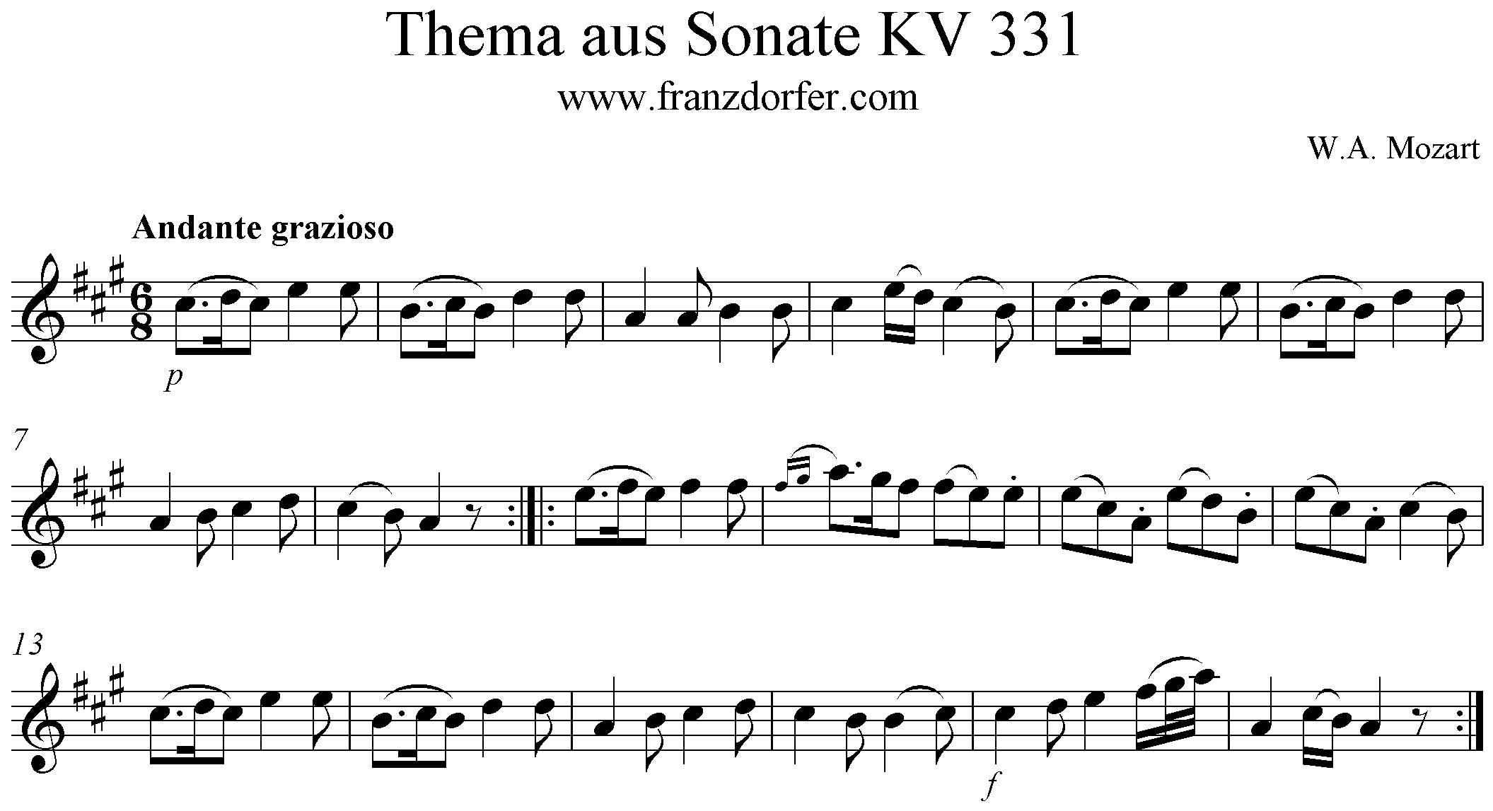 Andante grazioso KV 331 - Theme, Solopart